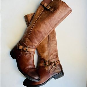 Vince Camuto Brown Distressed Leather Riding Boots